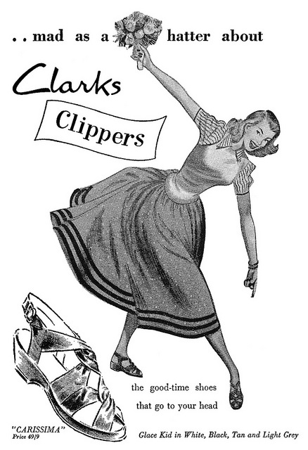 She's mad as a hatter about Clarks Clippers! #vintage #1950s #shoes #ads