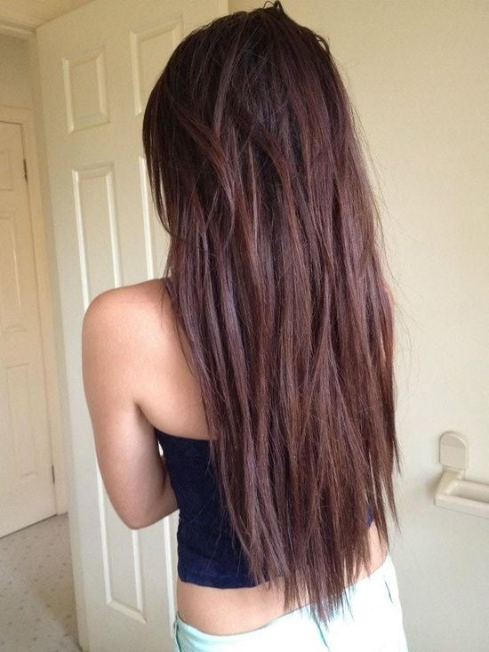 long and straight , love this colour