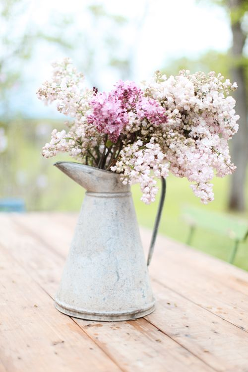 zinc pitcher filled with lilacs, Dreamy Whites