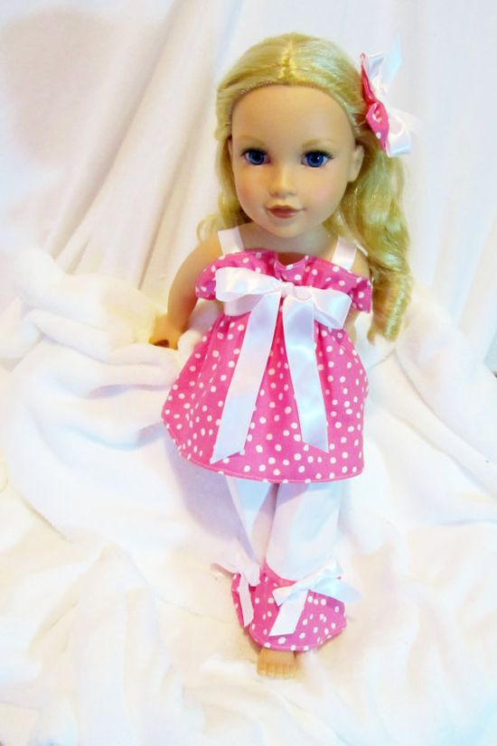 American Girl Doll Clothes 18 inch Dolls Pinky Power 3 PC Pant/Dress Outfit For American Girl Doll and Similar Dolls.