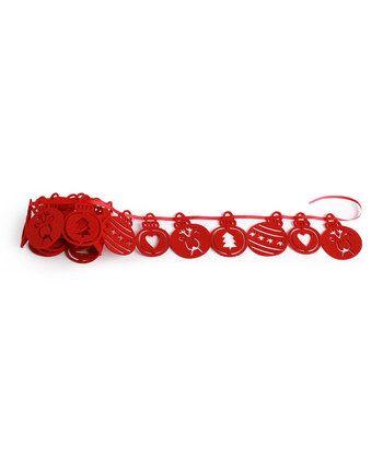 red ornament felt garland