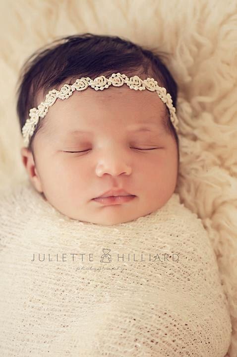 "Newborn Headband ""Angelina"" Newborn Photography Prop, Baby Headband. $14.00, via Etsy."