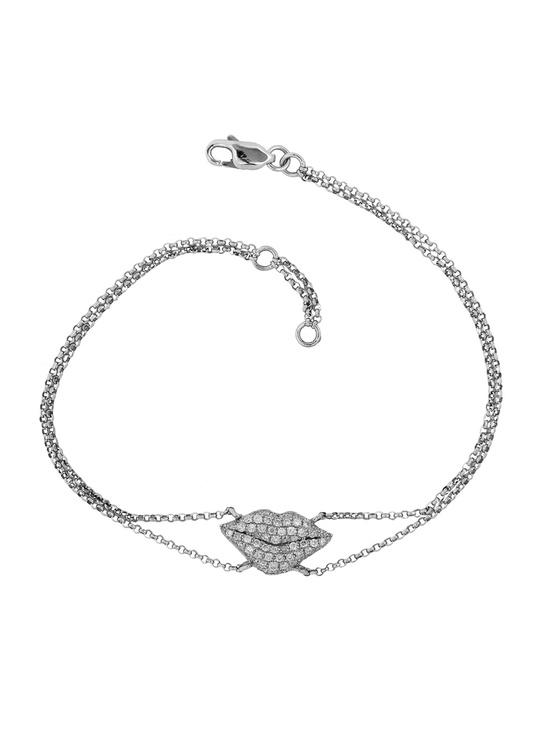 London Jewelers Collection 18k White Gold Diamond Lips Double Chain Bracelet.