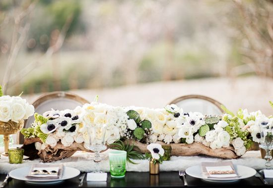 Anemone and wood centerpiece