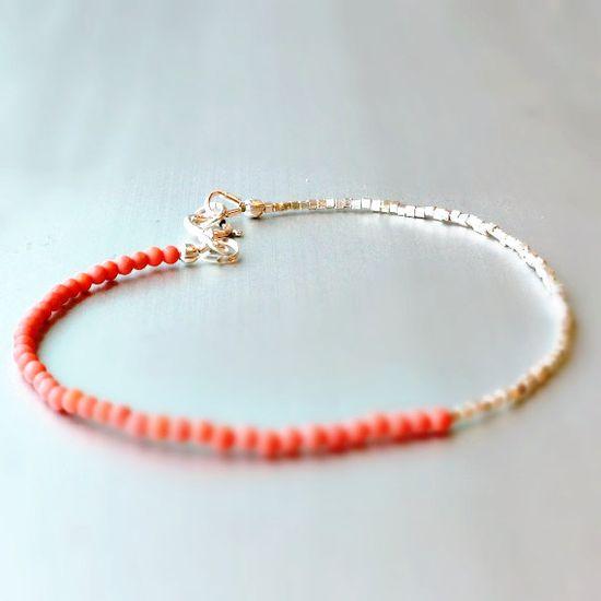 Pink Beaded Bracelet Sterling Silver Jewelry by jewelrybycarmal