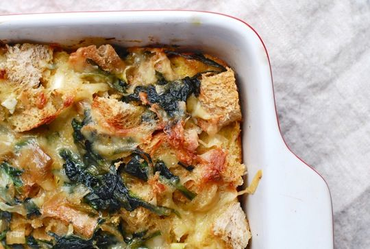 Kale and Cheddar Strata: love stratas.  Going to do a variation with spinach, artichoke, cheese and ham.