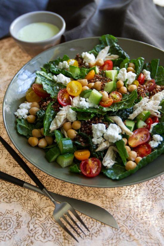 Kale, Chicken, and Quinoa Salad with Mint-Yogurt Dressing