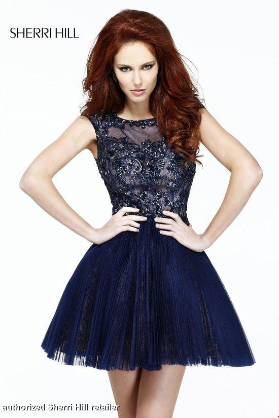 Sherri Hill Homecoming Dresses - Sherri Hill 21032 Cap Sleeves Short