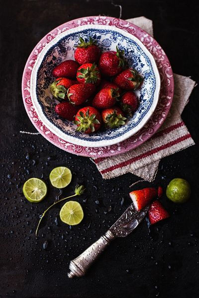 ? food styling photography - strawberry and lemon