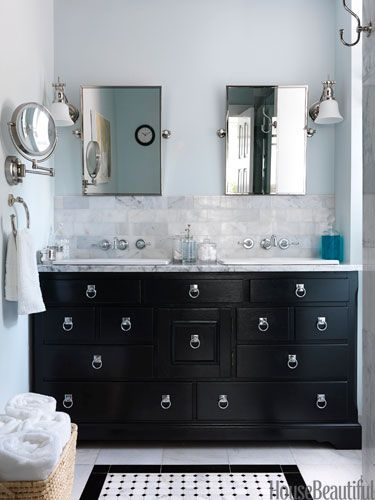 Vintage dresser vanity. Design: Zim Loy. housebeautiful.com. #vanity #bathrooms