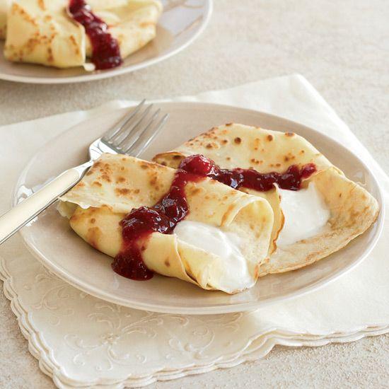 Crêpes with Sweet Yogurt and Raspberry-Apricot Sauce // More Brunch Recipes: www.foodandwine.c... #foodandwine