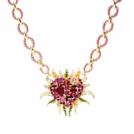 FLAMED HEART NECKLACE Tony Duquette for Coach