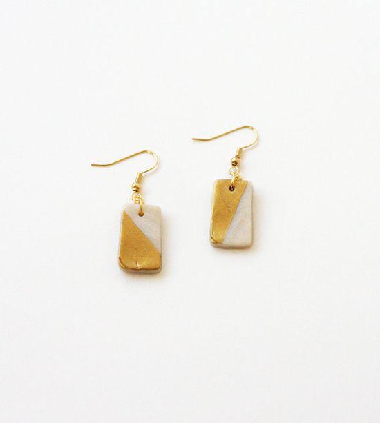 new earrings!  #gold #hanging #earrings #metallic #geometric