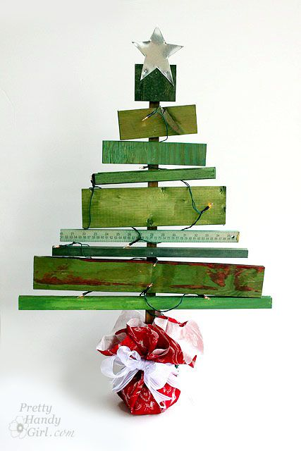 Dyed scrap wood Christmas tree