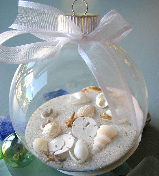 Seashell Christmas Ornament For Beach Decor  -  Nautical Shell Christmas Ornament Ball. $16.00, via Etsy.