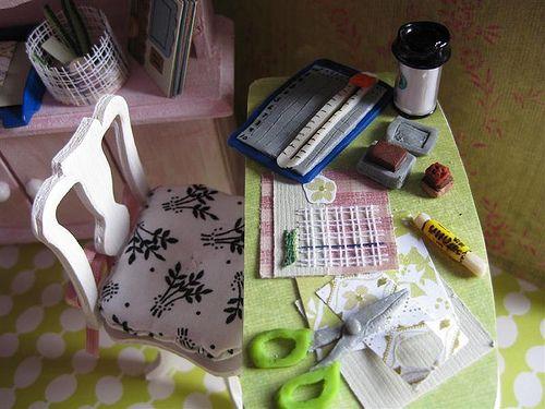 Miniature scrapbook studio.