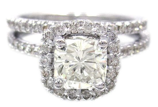 18k white gold cushion cut diamond  ring and by KNRINC, $4400.00