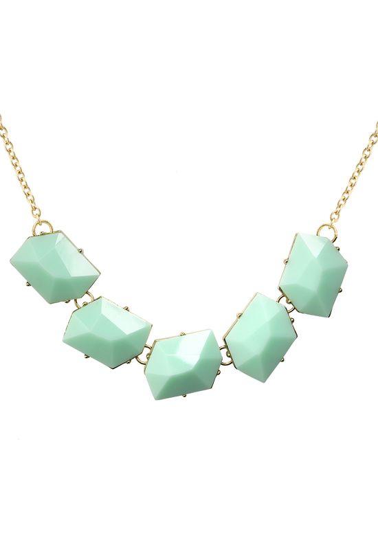 Modern Art Mint Necklace - Necklace