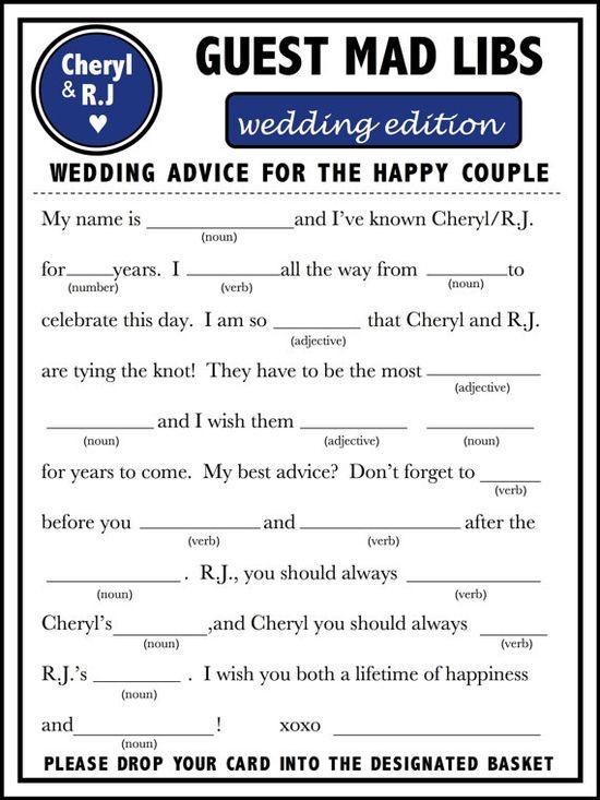 Unique Fun Wedding Reception Guest Book