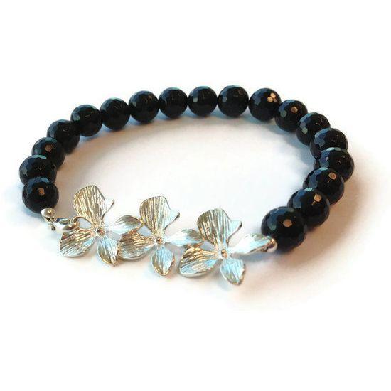 Black Bracelet Sterling Silver Jewelry Flower by jewelrybycarmal, $36.00