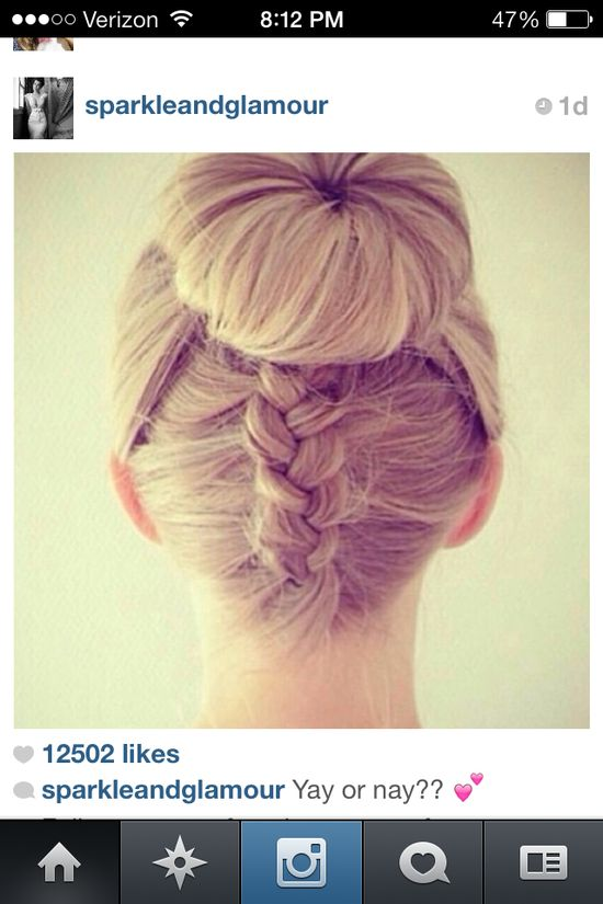 French braid + bun = beautiful!