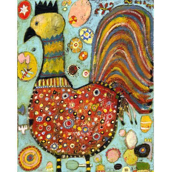 Jill Mayberg on etsy / folk art chickens