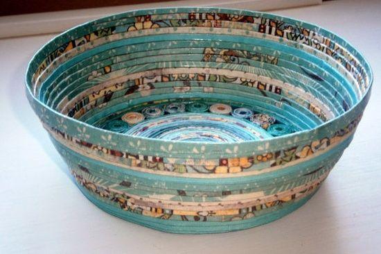 Handmade Paper Basket  Aqua large by BlueTangDesigns on