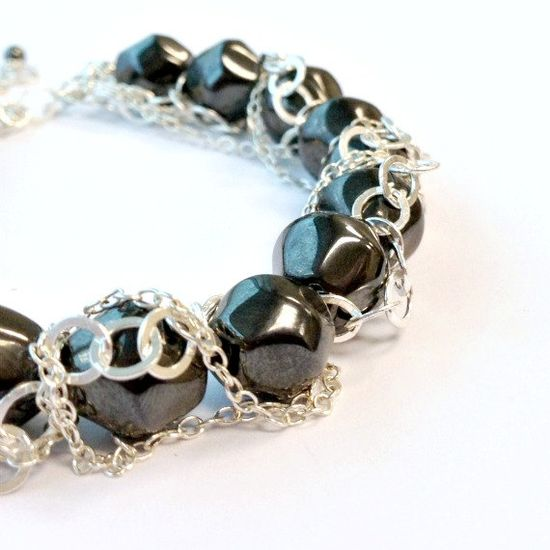 Hematite Bracelet  Sterling Silver  Statement by jewelrybycarmal, $135.00