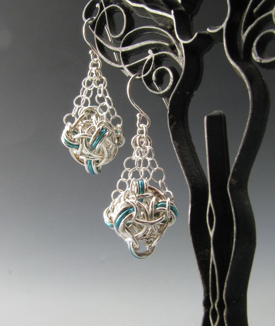 Sterling Silver Helm Orb Chainmaille Earrings