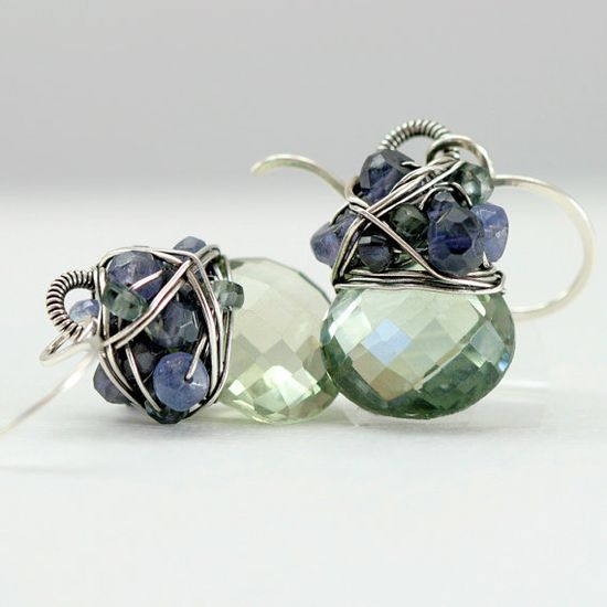 Green Amethyst, Tanzanite, Sapphire, Iolite, and Silver Earrings #handmade #jewelry #etsy #gemstone #beaded #beadwork $138