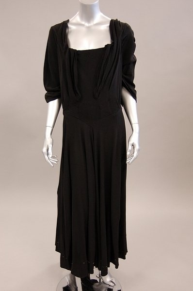 A Charles James couture black jersey dinner dress, 1940s
