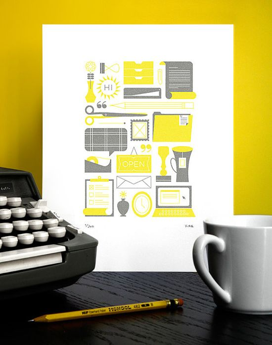 Yellow and grey office print!