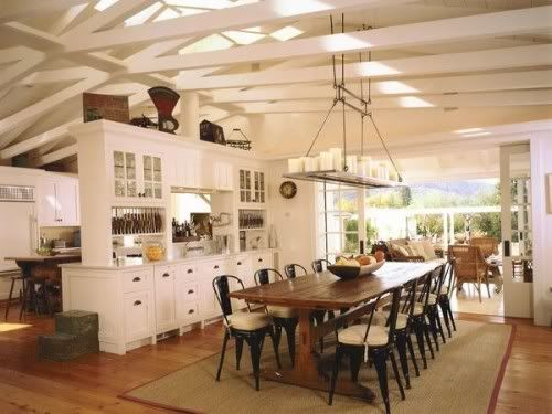 long, farmhouse table with large island/cabinetry above