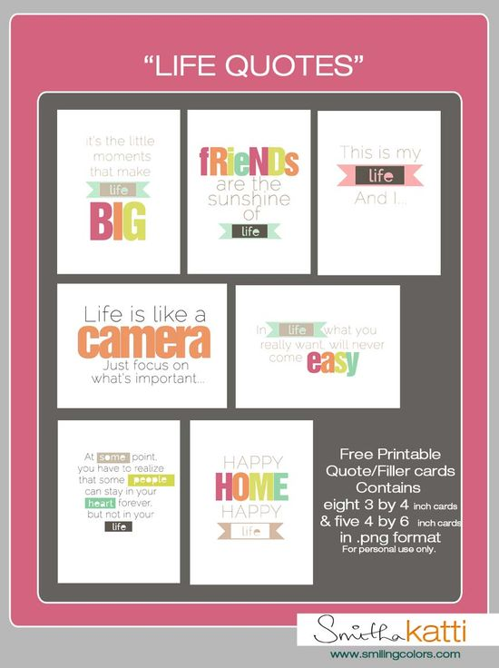Free Printables by Smitha Katti #projectlife