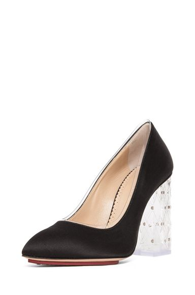Charlotte Olympia Odette PVC and Crystal Heel Pump in Black