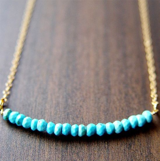 Turquoise Rondelle Necklace 14k Gold $36