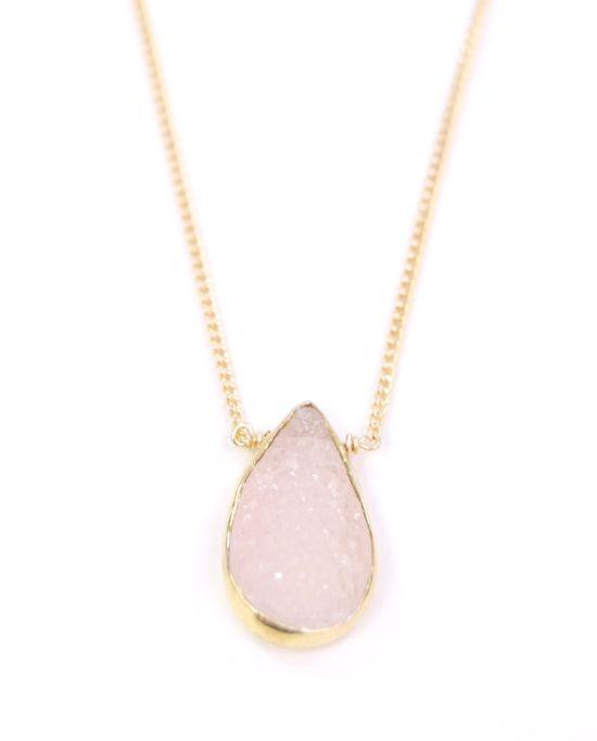 Kamea necklace  pink gold druzy necklace bezel by kealohajewelry
