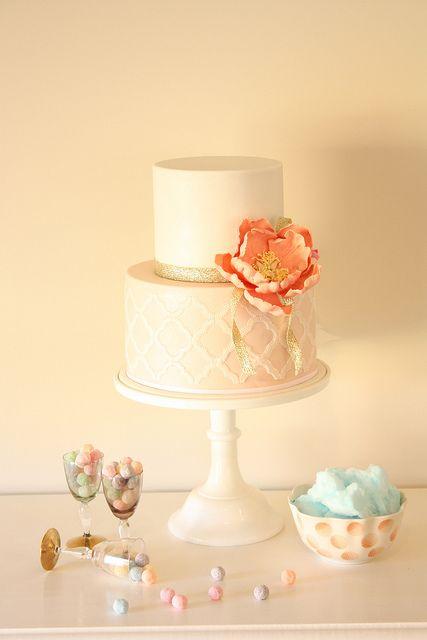 Flirty engagement cake by Cake Ink. (Janelle), via Flickr