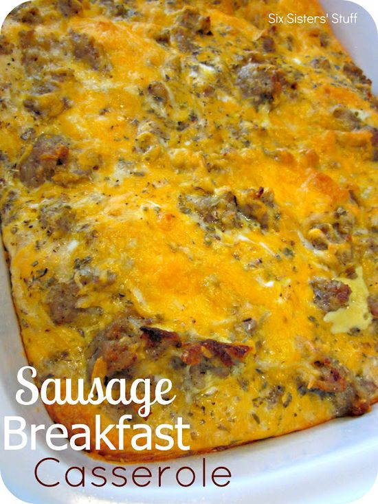 Sausage Breakfast Casserole from sixsistersstuff.com.