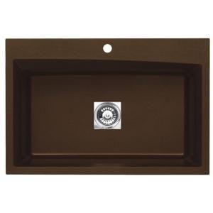 Pegasus Dual Mount Granite 33x22x10 1-Hole Large Single Bowl Kitchen Sink in Metallic Chocolate. $329
