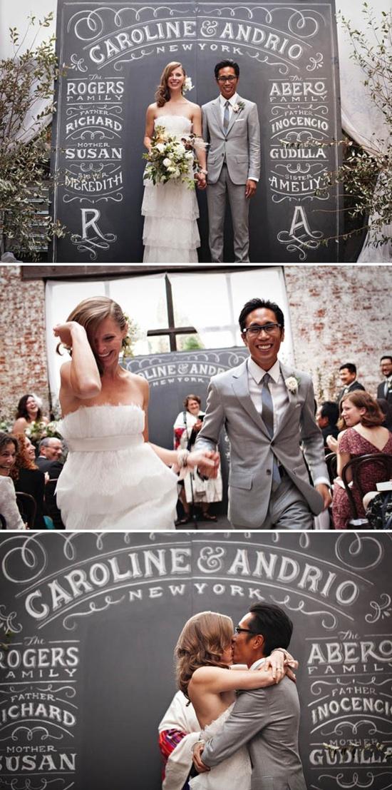 Cute wedding backdrop chalkboard.