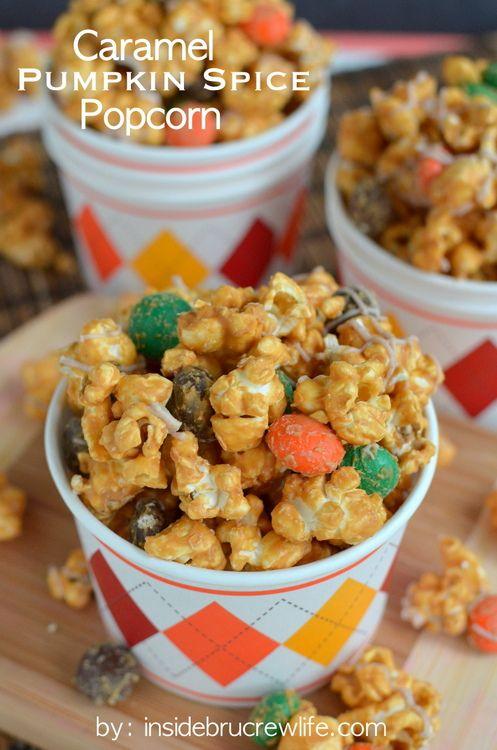 Caramel Pumpkin Spice Popcorn - caramel white chocolate covered popcorn with pumpkin spice M and M candies www.insidebrucrew...