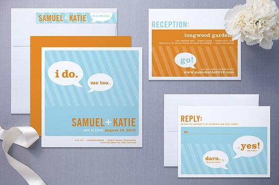Orange and Blue Wedding Invitation