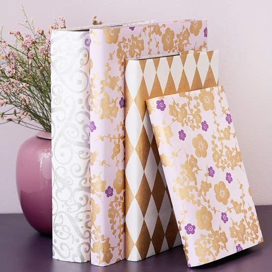 Elegant Book Jackets     Lovely handmade papers make these journals more than just a good read. Remove the existing jackets and use as a pattern. Cut the paper to size and then replace the original jacket with the new cover for