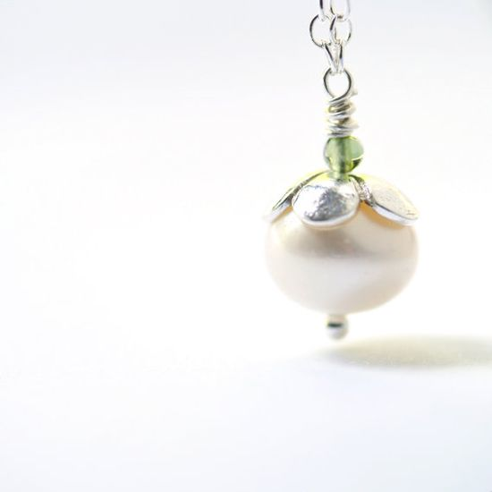White Pearl Necklace Sterling Silver Jewelry - I love the simplicity of this!