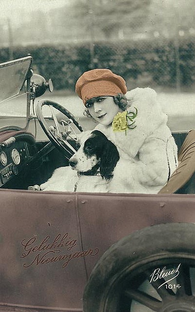 Woman with Dog in Car, ca. 1920's