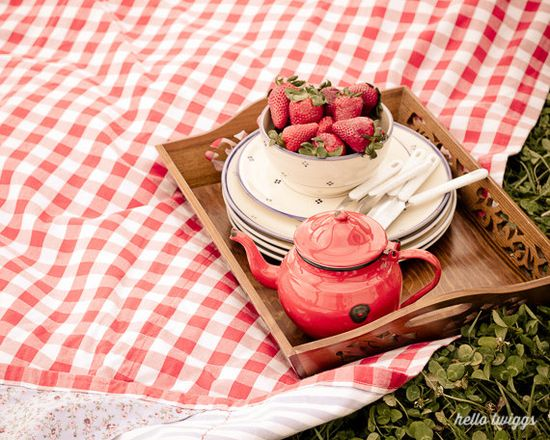 Red Gingham Pattern, Picnic Photography, Vintage Style, Red Tea Pot, Strawberries Photograph, 8x10 Art Print, Kitchen Decor - Summer Picnic