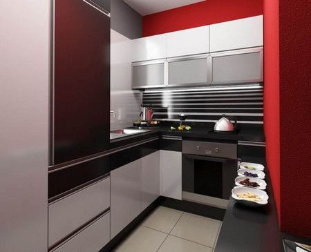 Ultra Small Kitchen Apartment With Modern Interior Design Ideas - Kitchen