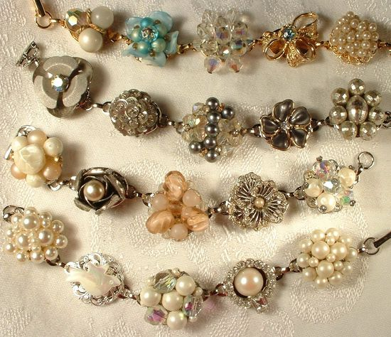 Love this...bracelets made with vintage earrings and buttons.