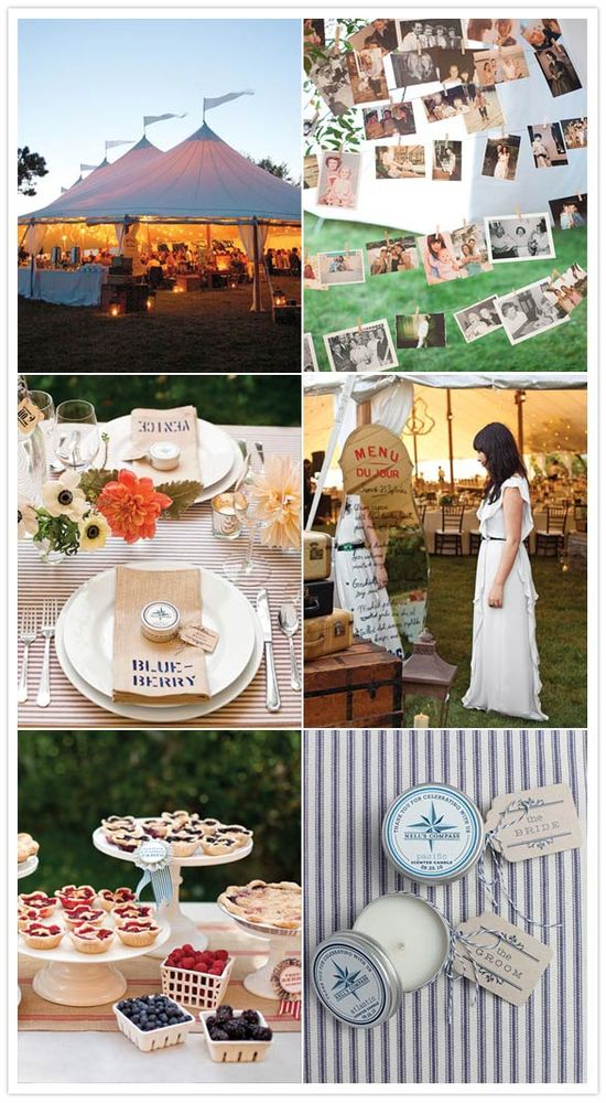 Love the outdoor wedding tents & pie station